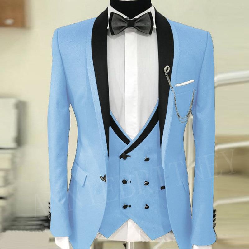 ANNIEBRITNEY Sky Blue Men's Suit For Wedding Prom New Designs Groom Tuxedo Jacket Pants Vest 3 Piece Dinner Men Suit Blazer 2019