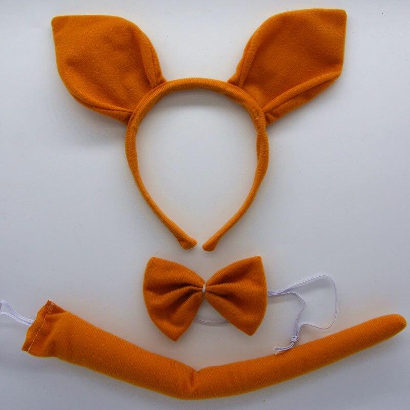 Детская повязка на голову с ушками животных для мальчиков и девочек; комплект с галстуком-бабочкой и хвостом для детей и взрослых; карнавальный костюм; вечерние аксессуары для волос - Цвет: 20
