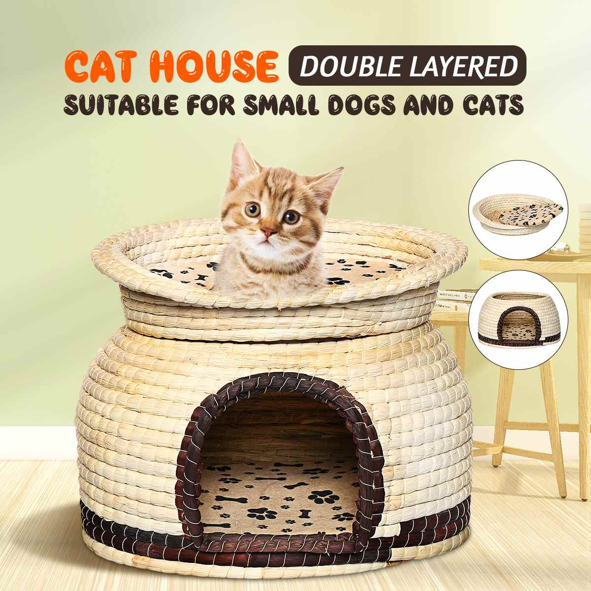 2-Tier Tent <font><b>Kennel</b></font> Puppy-Mat Pet-House Willow Cat Tree House <font><b>Dog</b></font> <font><b>Kennel</b></font> Double Layers image
