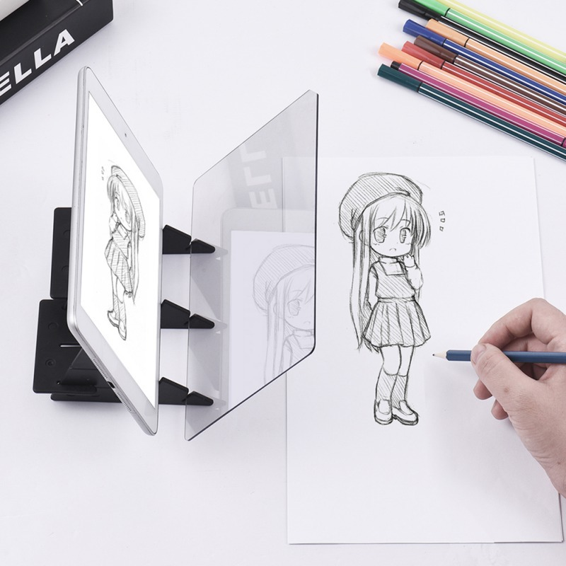 Optical Imaging Kids Drawing Panel Tracing Board Lens Sketch Specular Reflection Dimming Holder Painting Mirror Plate Copy Table