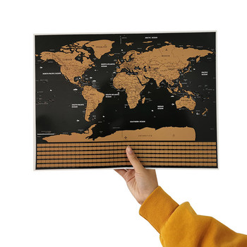 1 Pcs Scratch Map Flag Version Of The World Map 40*30cm Decorative Wall Stickers Student Teaching Equipment Decorative Poster