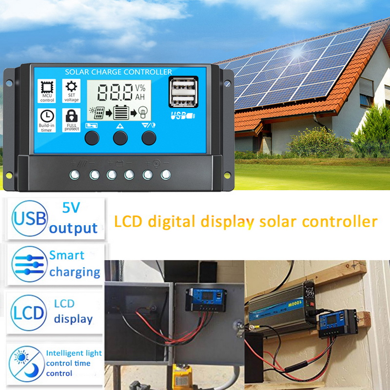10/20/30/A Solar Charge Controller 12V/24V Auto PWM 5V Output Solar Panel Battery Controller Regulator With Dual USB LCD Display