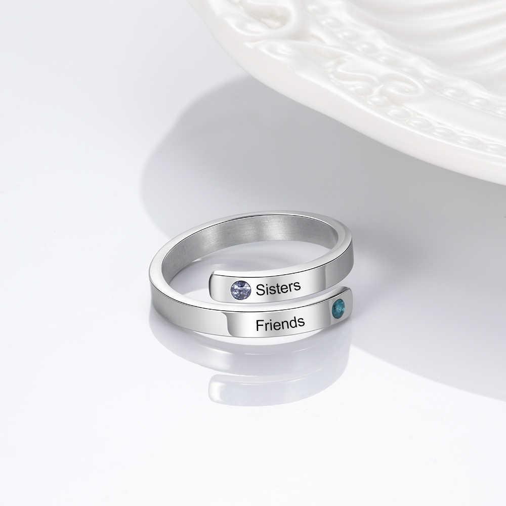 JewelOra ส่วนบุคคลแหวนคู่ 2 ชื่อ CUSTOM Birthstone Wrap แกะสลักแหวนคริสต์มาสสำหรับน้องสาวเพื่อน