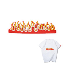 цены Embroidery patch custom punk fire Iron on patches for womens clothing Diy naszywki na ubrania applique baby clothes stickers
