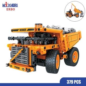 ERBO 379 Pcs Technology Mining Truck Car DIY Building Blocks City Model Bricks Car Toys for Children Learning Education Toy Gift