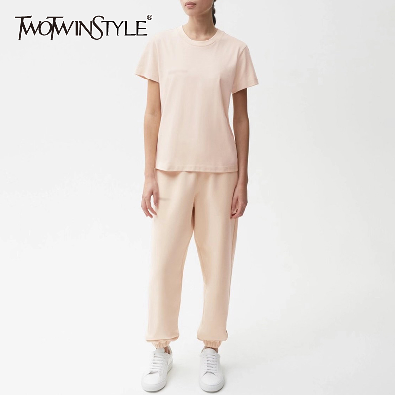 TWOTWINSTYLE Elastic Air Permeability Casual Sets For Female O Neck Short Sleeve T Shirt High Wiast Pants Women