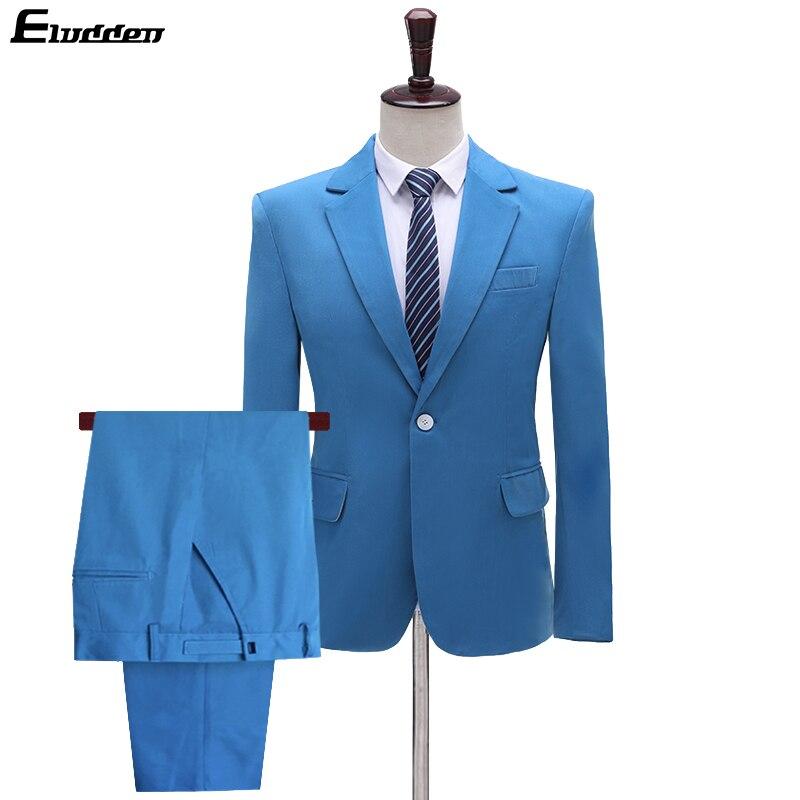 Men's Suit Slim Fit One Button 2-Piece Suit Blazer Dress Business Wedding Party Jacket & Pants Single Breasted Party Suits