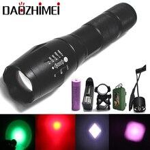 Powerful Led flashlight XM-L T6+R5 White/Green/Red 18650 IR