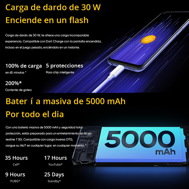 [Ship from Spain and France 3 Days delivery]realme 7 5G Dimensity 800U Smartphone 120Hz Display 48MP 5000mAh 30W Dart Charge 6