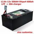 12,8 v 12v 500AH lifepo4 600ah литий-железо-фосфат LFP аккумулятор Солнечный 3,2 v 500Ah BMS RV инвертор Водонепроницаемый чехол + 20A зарядное устройство
