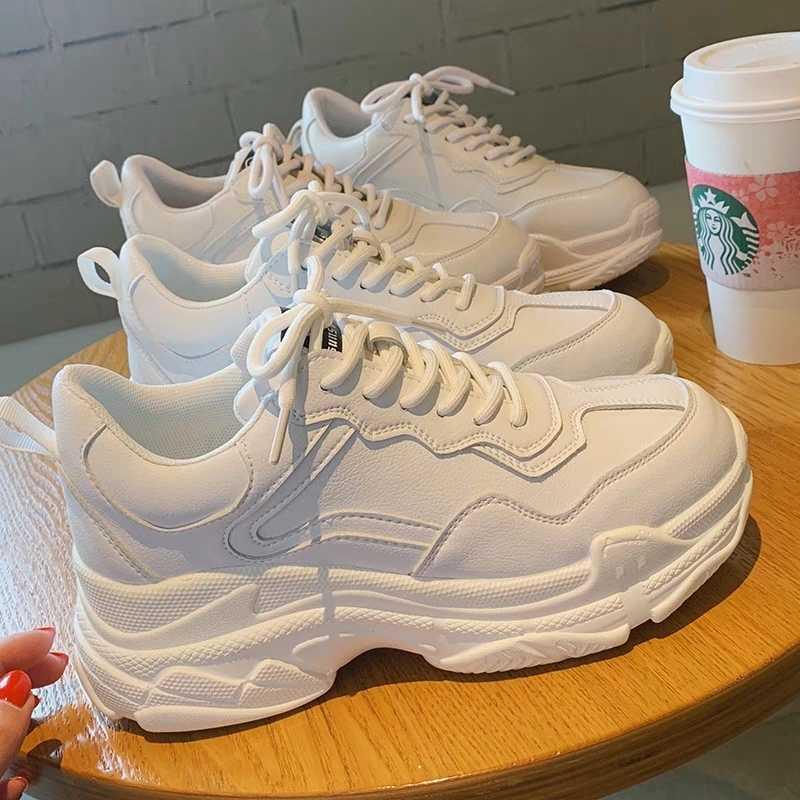Blanc femmes chaussures nouveau à lacets grosses baskets pour les femmes vulcaniser chaussures décontracté mode chaud papa chaussures plate-forme baskets panier