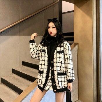 2020 Autumn Winter Fashion 2 Piece Set Women Long Sleeve Tweed Wool Jacket Coat+Mini Wool Skirt Set Ladies Vintage Clothing Sets