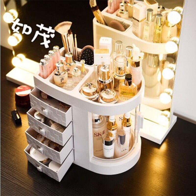 Transparent Makeup Case Waterproof Dressing Case Desktop Storage Organizer Drawer Beauty Cosmetic Jewelry Box Storage Organizer
