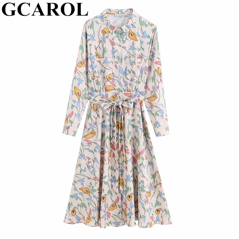 GCAROL New Women Color Printing OL Shirt Sashes Dress 2 Pockets A-Line Pleated Floral Long Dress Spring Fall Winter Base Dress