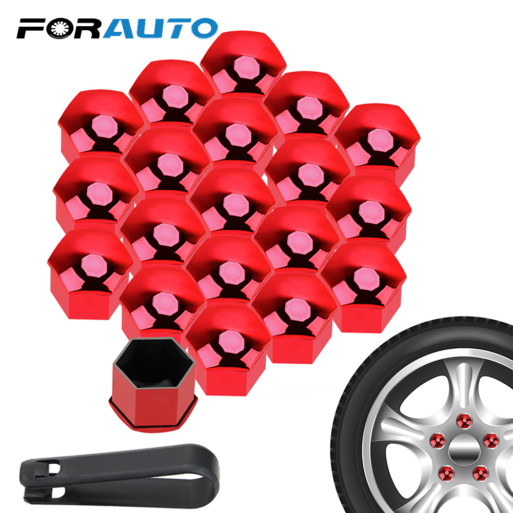 FORAUTO 20PCS <font><b>Car</b></font> <font><b>Wheel</b></font> <font><b>Nut</b></font> <font><b>Caps</b></font> Bolt Rim 21mm Auto Hub Screw Cover Protection <font><b>Caps</b></font> Dust Proof Exterior Decoration Anti-Rust image