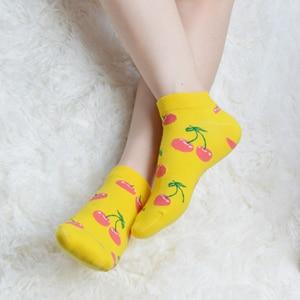 Image 4 - SANZETTI 12 זוגות\חבילה נשים שמח מסורק כותנה אופנה המפלגה מקרית גרבי פירות דפוס מצחיק Harajuku באיכות גבוהה גרביים קצרים