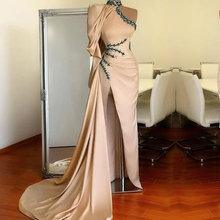 Evening-Dress Champagne Party-Gown Robe-De-Soire Arabic Muslim Eightale One-Shoulder