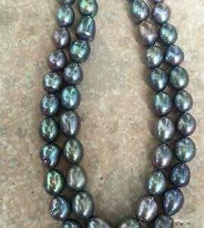 """+ + + Fine perły biżuteria podwójne nici 14-15mm morze południowe paw zielony barokowy naszyjnik z pereł 18 """"19"""""""