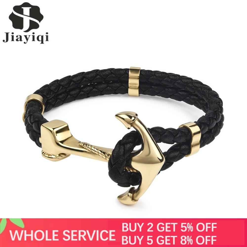 Jiayiqi Punk Gold Silver Color Anchor Clasp Black Braid Genuine Leather Bracelet Men Jewelry Stainless Steel Bangle