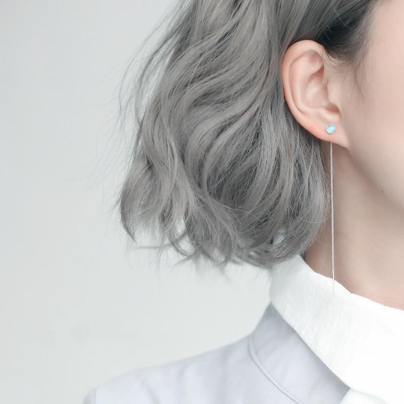 Silver Geometry Round Bead Long Tassel Earrings 925 Cat Eye Stone Drop Earrings For Women Simple Earring Chain Jewelry