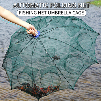 Strengthened 2-8 Holes Automatic Fishing Net Shrimp Cage Nylon Foldable Fish Trap Cast Net Cast Folding Fishing Network Outdoor