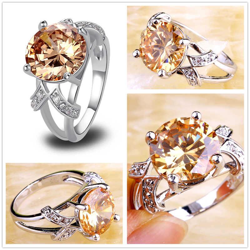 Lingmei סיטונאי מקסים חתונה ירוק ורוד טורמלין & לבן CZ כסף טבעת גודל 6 7 8 9 10 11 12 13 תכשיטים יקרים
