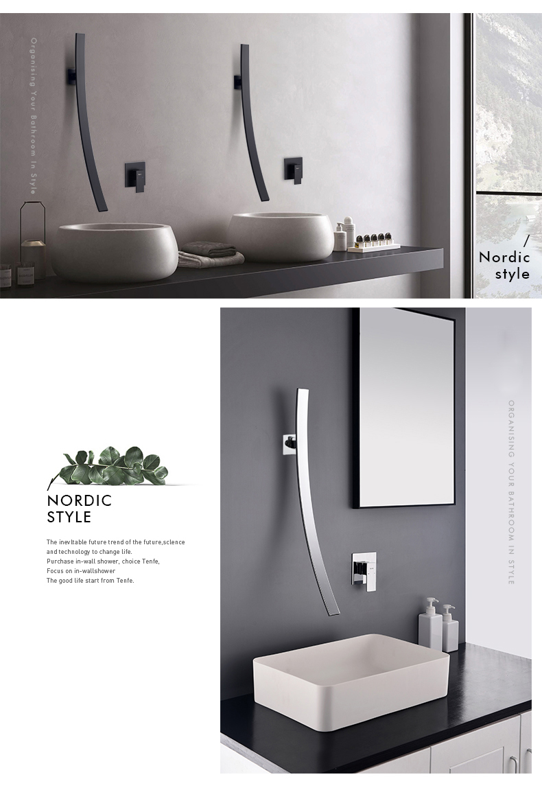 H905da0fd96044966bd112cb7c3f45da4F Rozin Wall Mounted 70cm Spout Waterfall Basin Faucet Single Handle Chrome Bathroom Mixer Tap Concealed Basin Sink Torneira