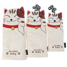 Чехол для головы гольф-клуба с мультяшным животным котом, чехол для головы водителя фарватера, деревянный гибридный набор чехлов
