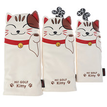 Golf Club Head Covers Cartoon Dier Kat Headcover Driver Fairway Wood Hybrid Covers Set(China)