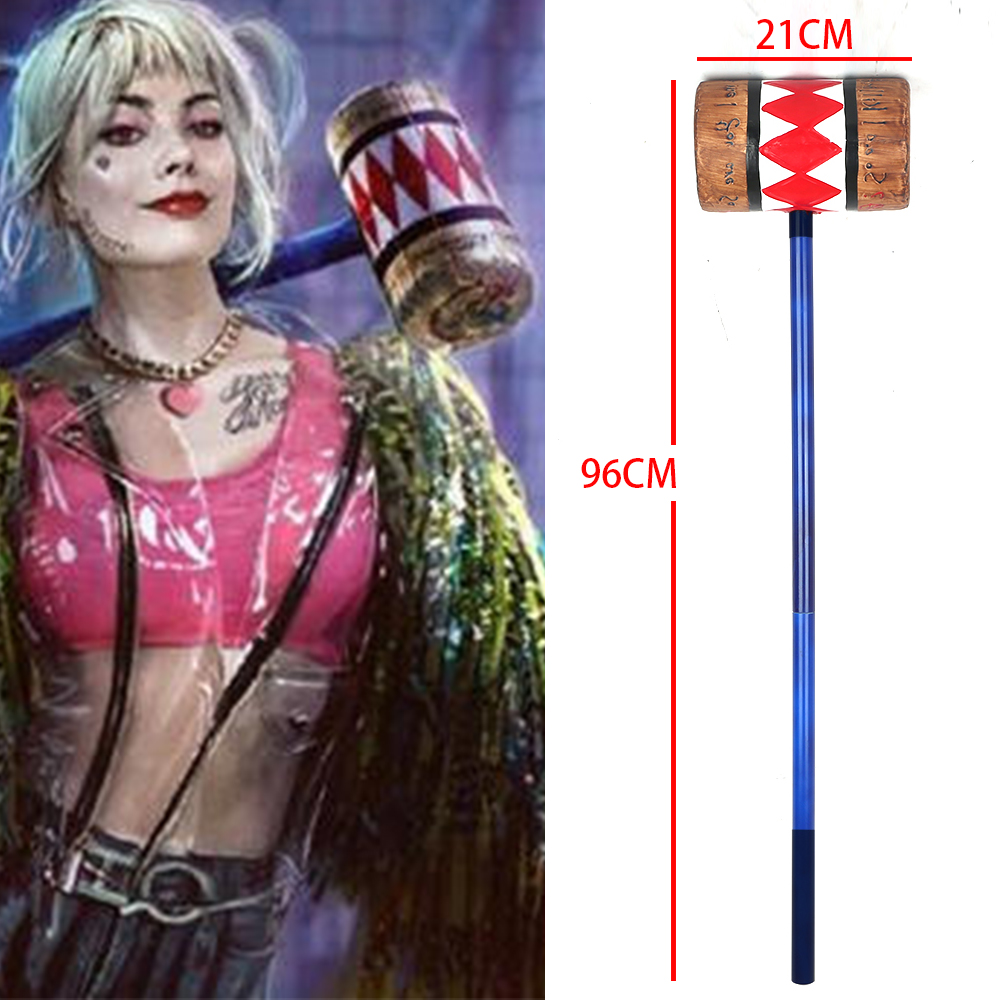 2020 New Birds of Prey Cosplay Harley Quinn Mallet Hammer Smile Face <font><b>Suicide</b></font> Squad Bat Halloween Cool Props 96cm image