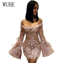 WUHE Sexy Sequin Plaid Mini Dress Women Befree Party Vestidos Sheer Mesh Long Sleeve Hollow Out Luxury Nightclub Dresses Clothes
