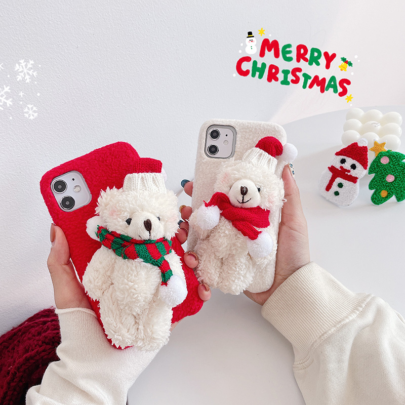3D Cute Plush Bear Phone Case For Iphone 12 Mini 11 Pro Max Xr X Xs Max 7 8 Plus Se 2020 Red New Year Christmas Case For Iphone