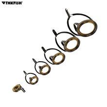 6pcs/set Fishing Rod Guides Gold Ceramic Ring Bait Casting Kit Repair Integrated Stainless Steel Set Tip Tops