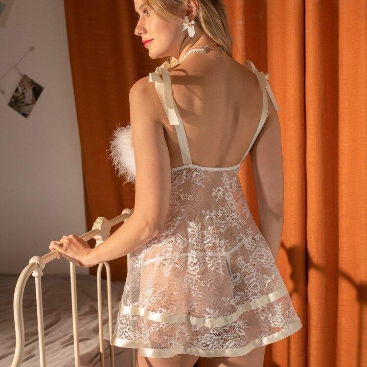 Sexy underwear hot perspectivity net yarn dew milk suspender nightdress passion suit large lace pajamas erotic sex shop babydoll