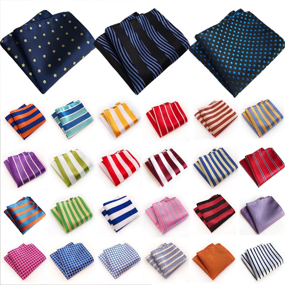 Mens Pocket Square Classic Striped Checks Print Handkerchief Wedding Party