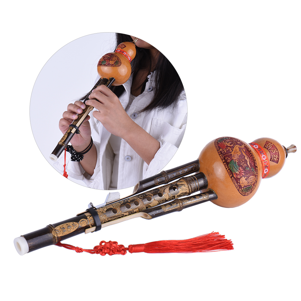 Chinese Handmade Cucurbit Black Gourd Gourd Flute National Musical Instrument C key With Beginner Music Lovers Case