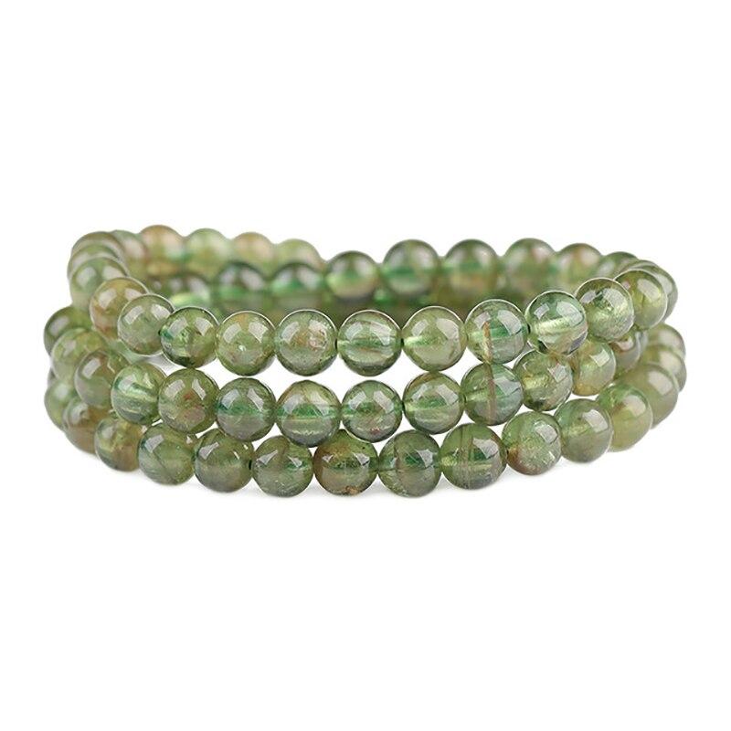 Bracelet en pierre d'apatite verte naturelle perles rondes Bracelets en cristal pour hommes femmes sagesse pierre multi-cercle Bracelet bijoux
