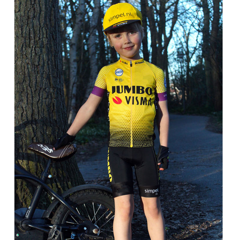Jumbo Visma Breathable Kids Cycling Jersey Set Shorts Fluorescent Pink Children Bike Clothing Boys Girls Summer Bicycle Raphaful