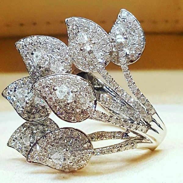 หญิงหรูหราขนาดเล็ก Zircon แหวนหิน VINTAGE Big Rose Rose ดอกไม้งานแต่งงานแหวนสไตล์ที่ไม่ซ้ำกันรักหมั้นแหวน