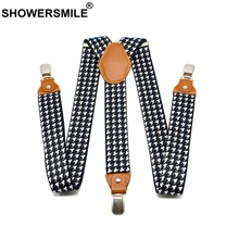 SHOWERSMILE Houndstooth Suspenders Man For Pants Fashion Casual Straps With Leather Adjustable 3 Cilps Y Back Braces Male Belts
