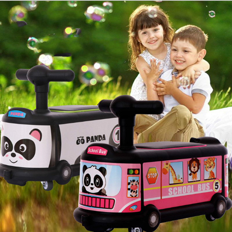 Quality Cartoon Bus Children's Twist Car 1 3 year old Baby Skating Universal Mute Wheel Skating Gift Car