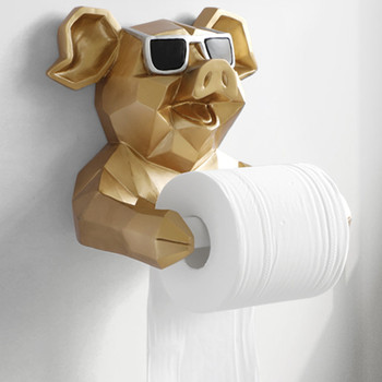 Animal Head Statue Figurine Hanging Tissue Holder Toilet Washroom Wall Home Decor Roll Paper Tissue Box Holder Wall Mount WX4