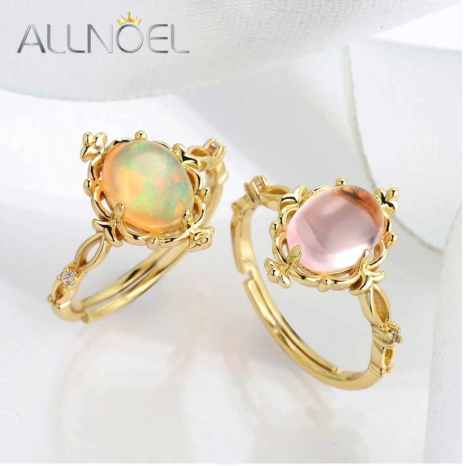 ALLNOEL 925 Sterling Silver Rings For Women  Natural Gemstone Opal Topaz Real Gold Plated Wedding Brand Antique Fine Jewelry