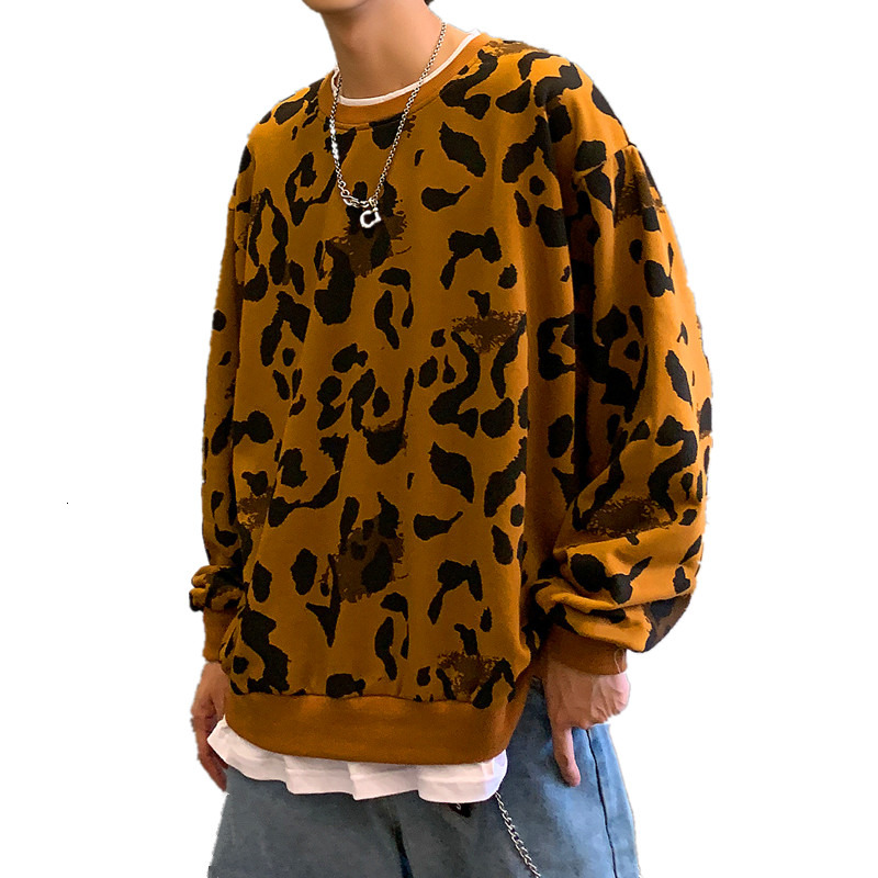 Autumn New Leopard Lipstick Hoodies Men Fashion Casual Sweatshirt Fake 2 Piece Loose Hip Hop Hoodie Men Harajuku Pullover Top