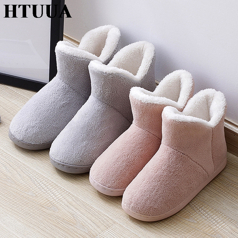 HTUUA House Shoes Couples Cotton Slippers High-Top Plush Winter Women Indoor Warm 36-45
