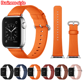 Luksusowa tekstura bransoletka dla IWatch 6 pasek skórzany skórzany zegarek nadgarstek seria 3 5 4 2 1 dla Apple Watch 40mm 44mm 38M 42mm