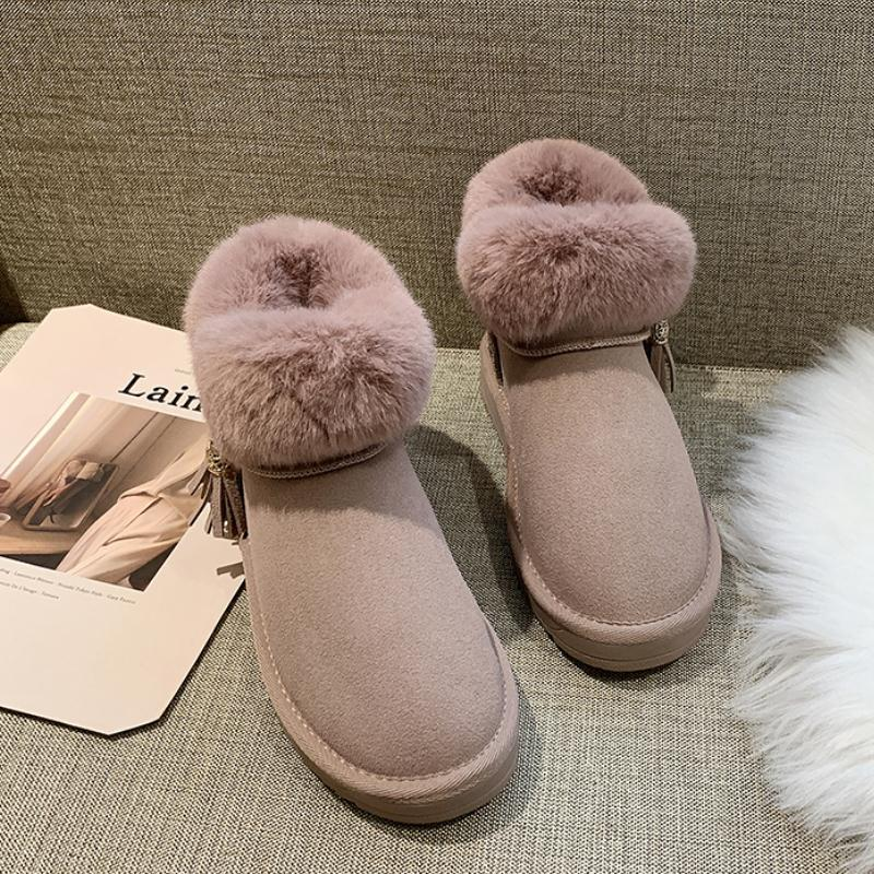 RIZABINA 5 Color Women Ankle Snow Boots Winter Keep Warm Thicken Fur Cotton Shoes Women Add Plush Casual Flats Boots Size 35-41 30