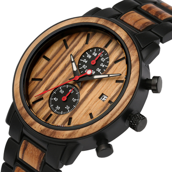 Luxury Wood Stainless Steel Men Watch Fashion Wooden Timepieces Chronograph Clock Quartz Watches Top Gifts Man Relogio Masculino bobo bird wooden men watches relogio masculino top brand luxury stylish chronograph military watch great gift for man oem