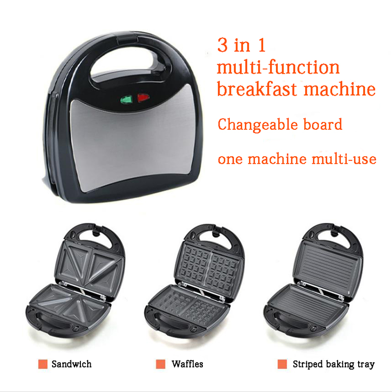 3 In 1 Sandwich Machine Multi-purpose Waffle Machine Heated Electric Baking Pan  Steak Machine Panini Breakfast Machine