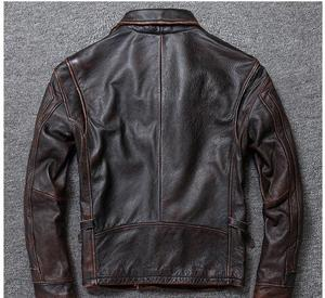 Image 4 - Free shipping.sales gift Brand new men cowhide coat.winter warm mens genuine Leather jacket.vintage style man leather clothes